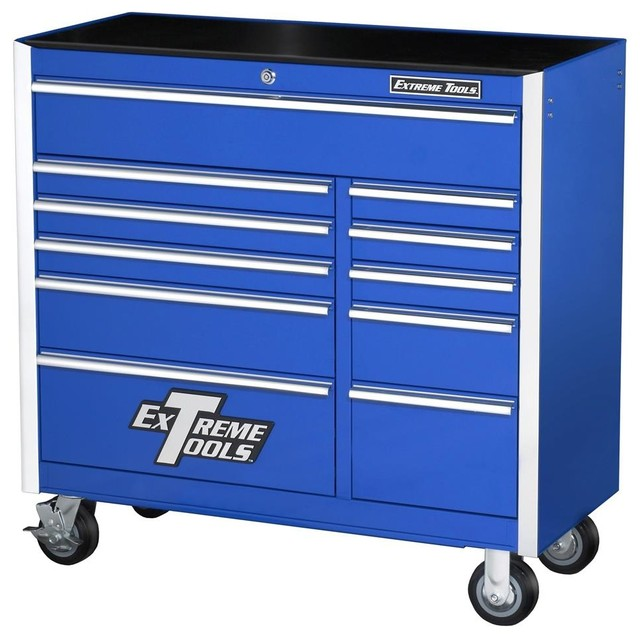 Extreme tools steel 11 drawer professional tool chest on locking casters view in your room - Modern garage storage systems for clean view ...