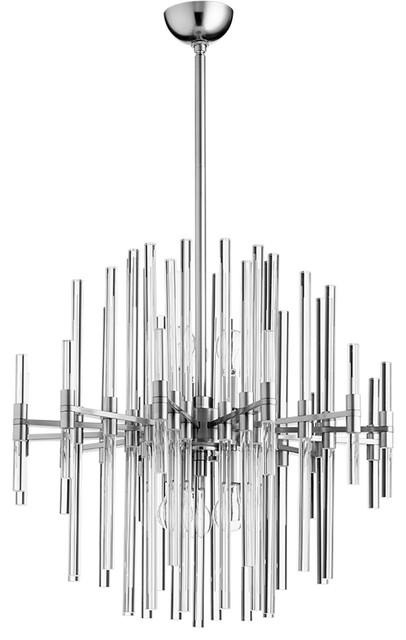 Quebec 6-Light Pendants, Satin Nickel.