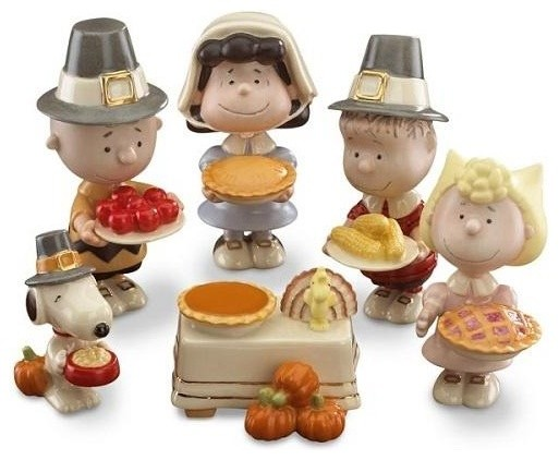 Peanuts 6-Piece Thanksgiving Figurine Set By Lenox.