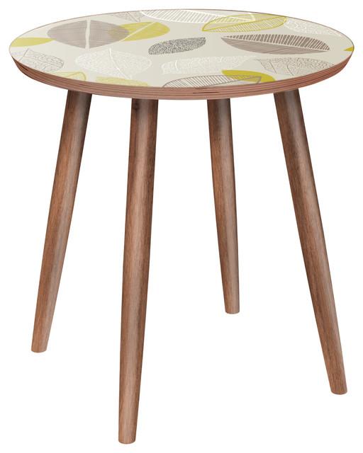Stella Dowel Side Table, Autumn Leaves, Walnut/walnut.