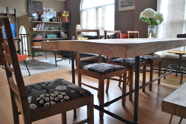 Reclaimed Wood And Steel Pipe Leg Table Hairpin Bench Eclectic