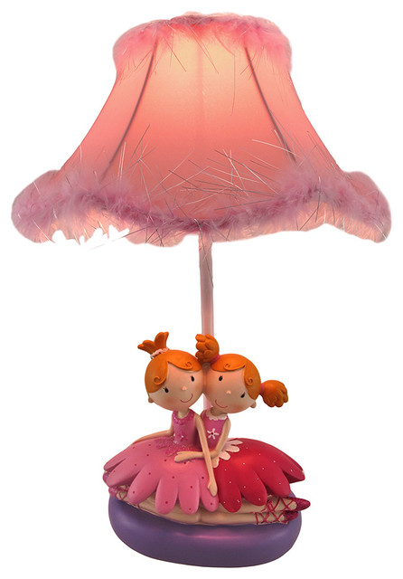 Twin Ballerina Sisters Lamp with Feather Trimmed Shade  : contemporary kids lamps from www.houzz.com size 446 x 640 jpeg 52kB