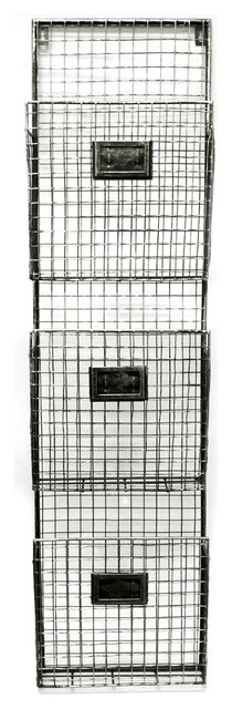 Metal Wall File Holder pewter metal 3-pocket wall file holder - industrial - desk