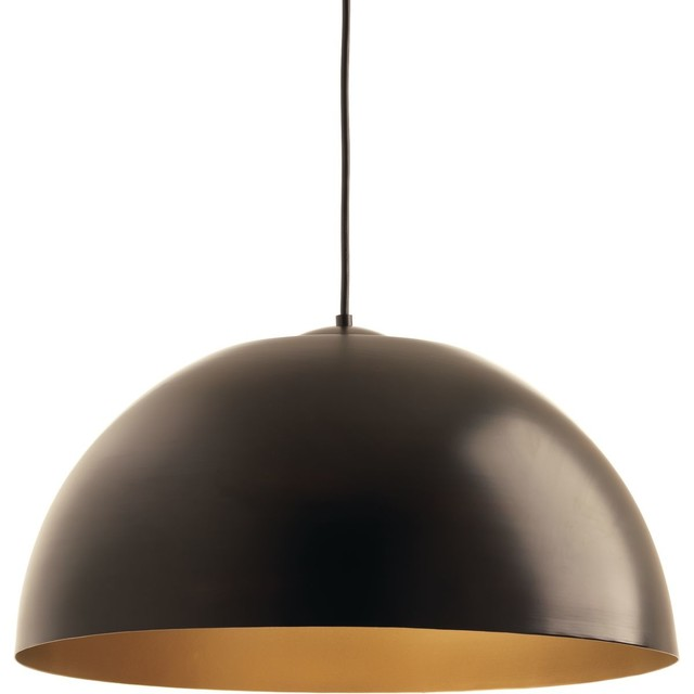 "Progress Lighting Dome 1-Light Pendant, Antique Bronze, 22""x11.75""."