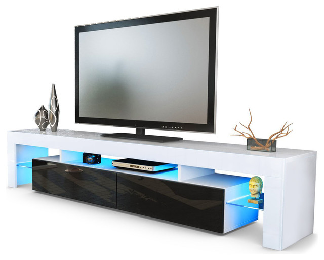 Helios200 Modern Tv Stand For Living Room, With Led, Black.