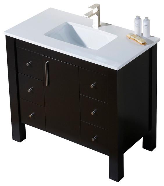 Parsons 37 Quartz Top Vanity, Matte White, White Sink, White Quartz Countertop by Inolav
