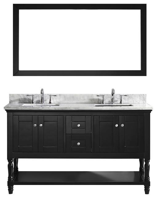 "Virtu Julianna 60"" Double Bathroom Vanity, Espresso With Marble Top, Mirror."