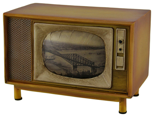 zeckos brown vintage finish retro console television coin. Black Bedroom Furniture Sets. Home Design Ideas