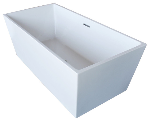 Fjord 5.6&x27; Acrylic Center Drain Freestanding Bathtub, Glossy White.