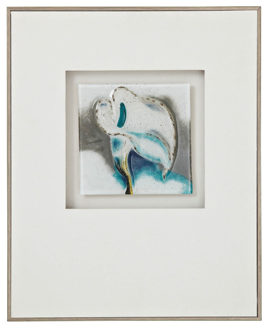 Floral Blue and White Framed 3D Glass Wall Art II - Contemporary ...