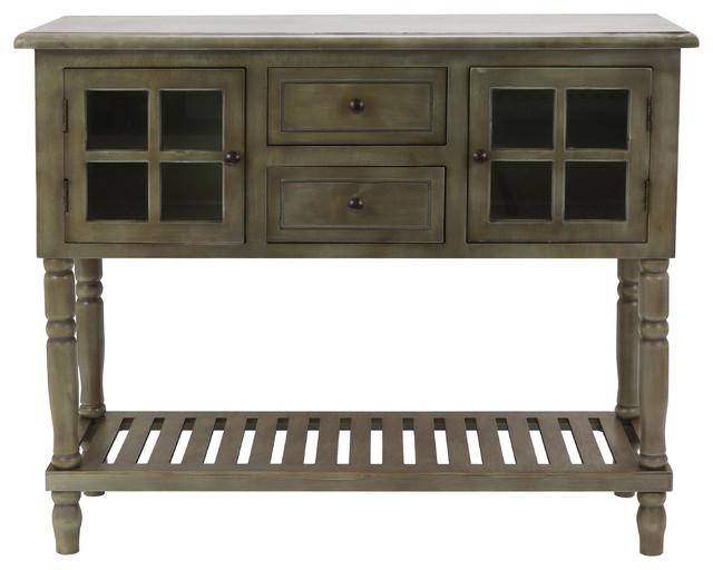 Morgan Two Door Console Table, Antique Gray.