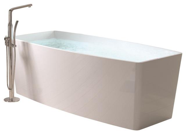 """Adm Rectangular Freestanding Bathtub, Glossy White, 70.5""""."""