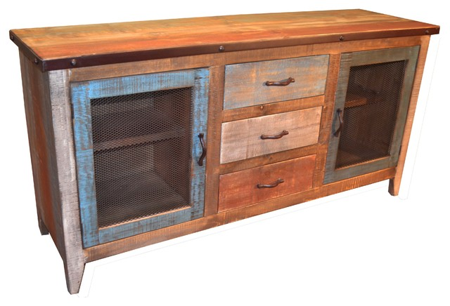 Reclaimed Wood Sideboard With Metal-Door Panels and 3 Drawers  beach-style-buffets - Reclaimed Wood Sideboard With Metal-Door Panels And 3 Drawers