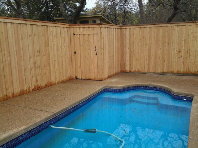 Cedar Fence Around Pool Dallas By Circle D Industries