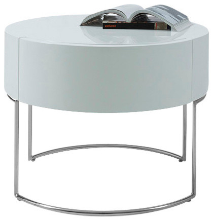 Modern White Lacquer Round Nightstand