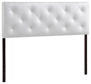 Baltimore Modern and Contemporary King White Faux Leather Upholstered Headboard