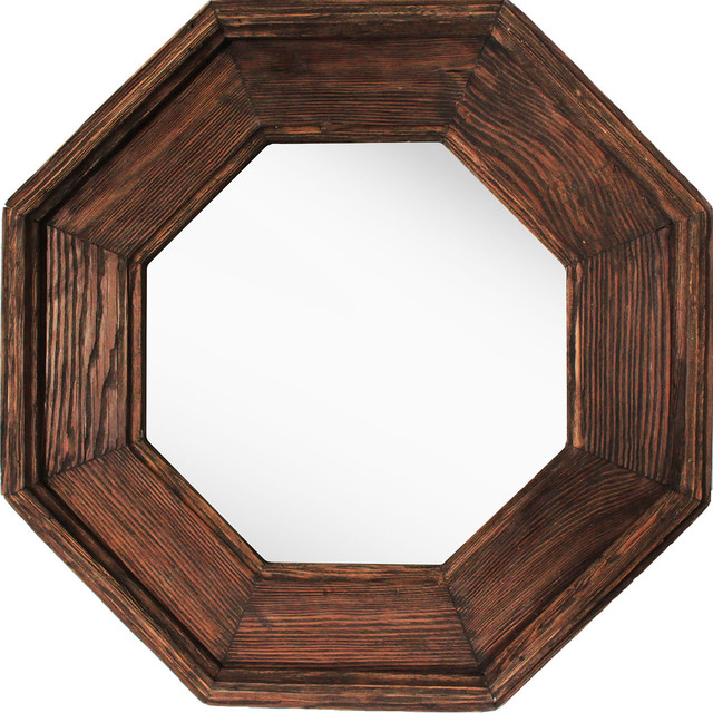 Wooden Octagonal Mirror, Small.