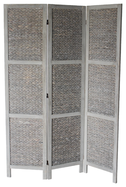Zane 3 Panel Room Divider Gray Tropical Screens And Room
