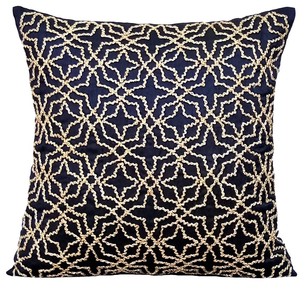 Blue Decorative Pillow Covers Silk Navy Blue Geometry