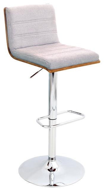 Pleasing Vasari Height Adjustable Barstool With Swivel Walnut Wood Gray Fabric Seat Uwap Interior Chair Design Uwaporg