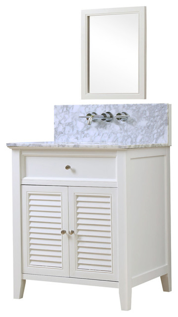 Shutter 32 white vanity white carrara marble top for Marble top console sink