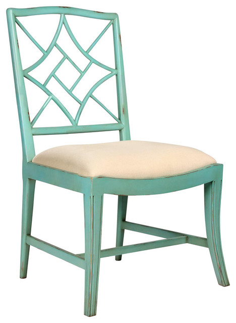 Lombard Hollywood Regency Sea Green Rustic Dining Chair - Asian