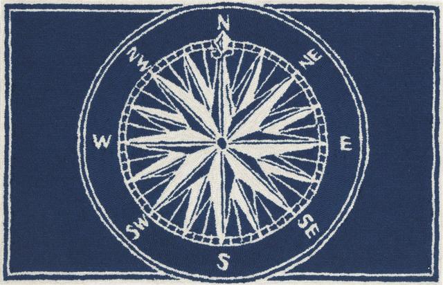 """Liora Manne Frontporch Compass Indoor/outdoor Rug, Navy, 20""""x30""""."""