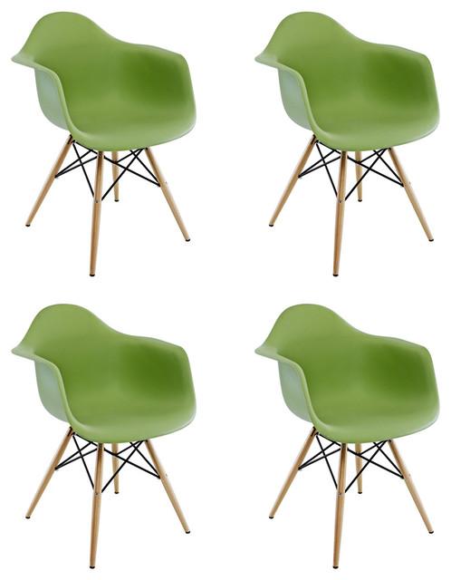 DAW Green Mid Century Modern Plastic Dining Chair, Wood Eiffel Leg, Set of 4