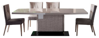 """Rossetto Dune Perla 102"""" Dining Table and 6 Chairs, 7-Piece Set"""