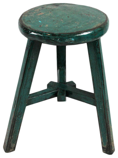 Turquoise Lacquered Wood Stool Beach Style Accent And