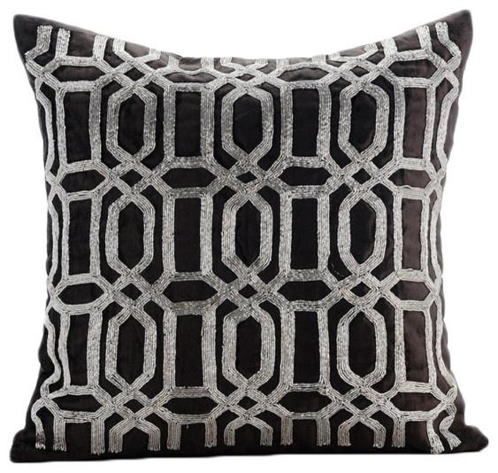 Fresh Turkish Silver, Gray Velvet Throw Pillow Covers - Transitional  SJ98