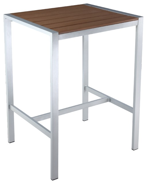 Lola Aluminum Outdoor Bar Table Poly Wood SilverTeak - Teak and aluminium outdoor table