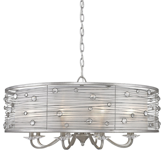 Joia 8-Light Pendant With Sheer Filigree Mist Shade, Peruvian Silver.