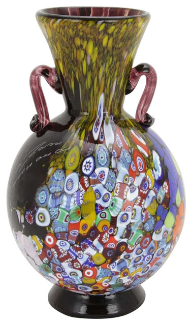 Murano Glass Millefiori Art Glass Vase With Handles Amethyst