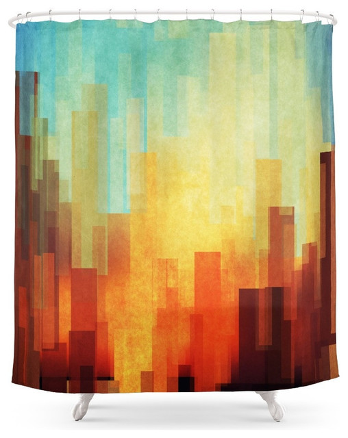 society6 urban sunset shower curtain - contemporary - shower