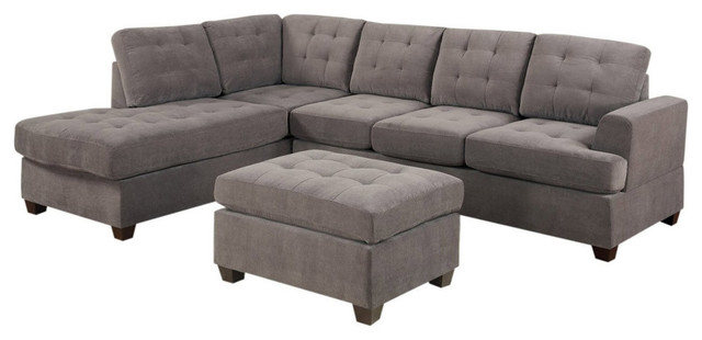 3-Piece Reversible Sectional Sofa With Ottoman, Charcoal Microfiber.