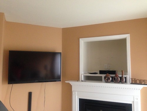 hi! i need ideas for the large tv nook above the corner fireplace in my living room. i have my flat screned tv on the wall next to it and a low black tv console below the tv(not seen in pic). ive thought about covering it up with a largemirror butthe crow