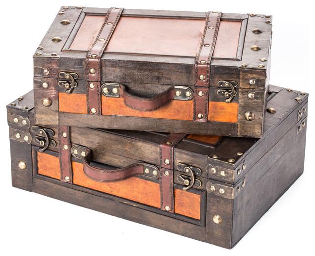 Vintage Style Wood Decorative Suitcases, 9-Piece Set