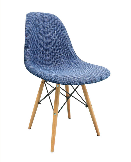 Outstanding Blue Fabric Upholstered Dsw Mid Century Shell Chair Wood Eiffel Legs Machost Co Dining Chair Design Ideas Machostcouk