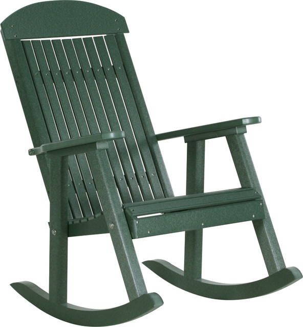 Poly Highback Porch Rocking Chair Green Modern Outdoor Rocking Chairs