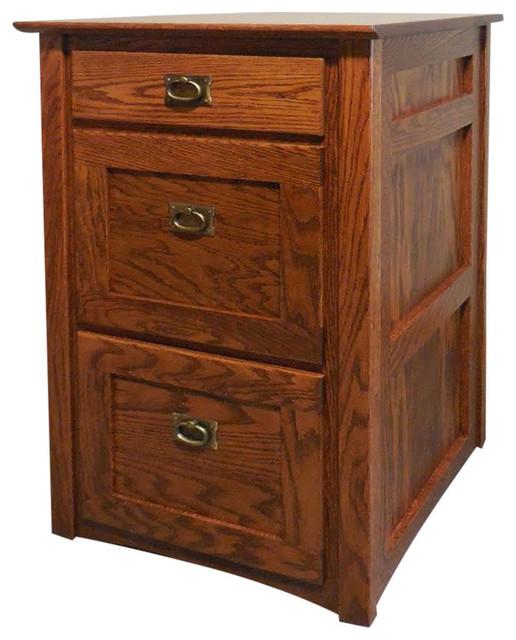 Mission Solid Oak 3 Drawer Filing Cabinet, Golden Oak  Traditional Filing Cabinets