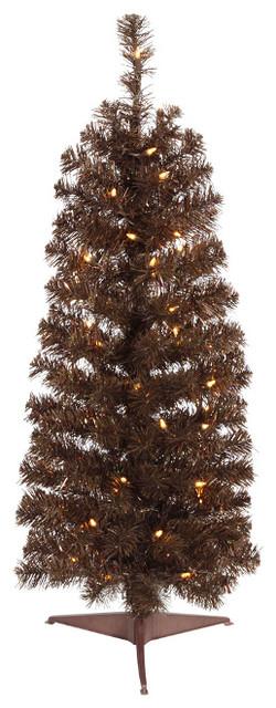 2 pre lit chocolate brown pencil artificial christmas tree clear lights - Pre Lit Pencil Christmas Tree