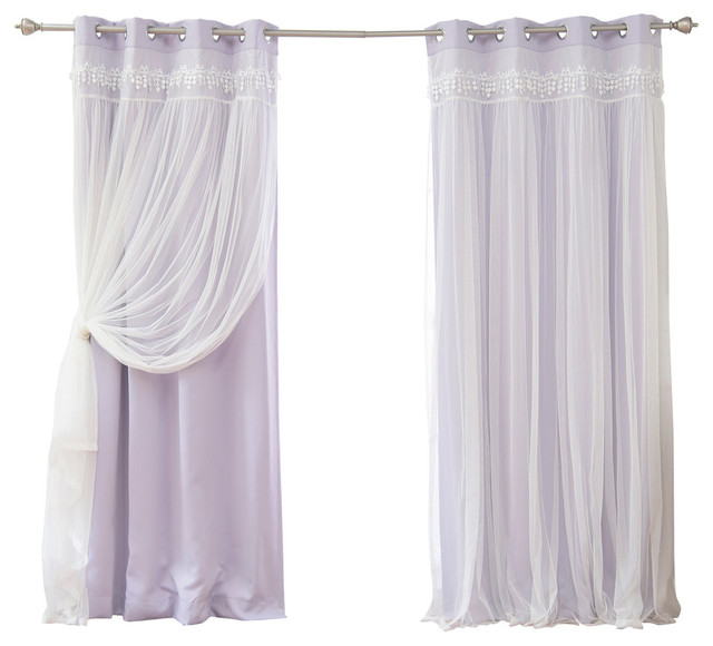 "Lace Overlay Blackout Curtains, Lilac, 84""."