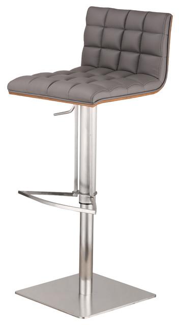 Kempten Adjustable Brushed Stainless Steel Bar Stool, Gray