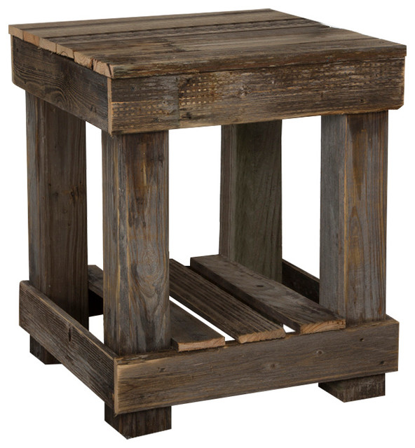 Barnwood end table farmhouse side tables and end for Wood side table