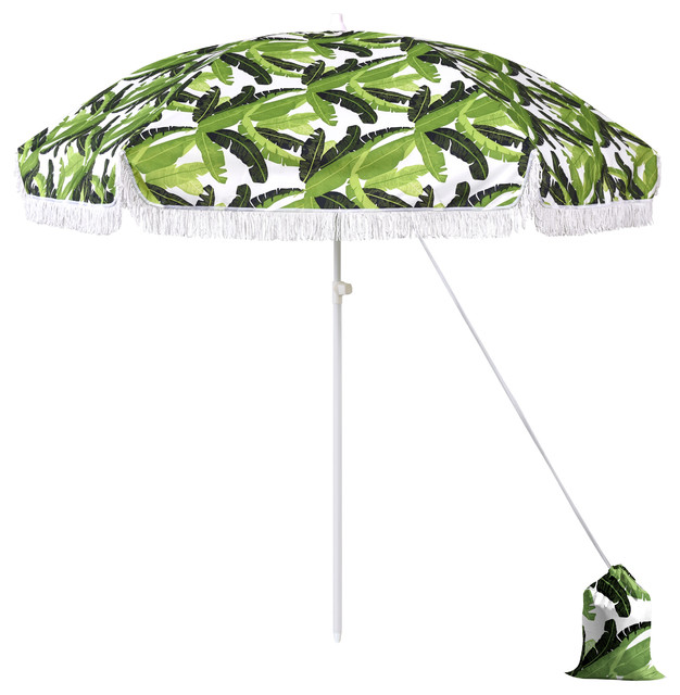 6 5 Fibergl Beach Umbrella Pointed Pole Carry Bag Sand Banana Leaf Tropical Outdoor Umbrellas By Western Sierra Trading Company