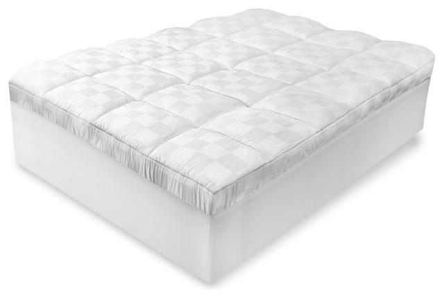 soft tex mattress topper Luxury Euro Top 500 Thread Count Full Mattress Pad   Contemporary  soft tex mattress topper