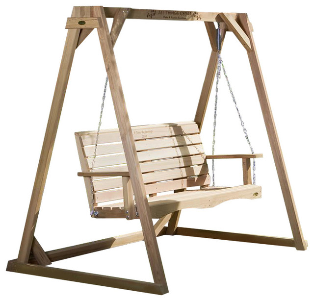 All Things Cedar A-Frame Red Cedar Porch Swing Stand - Transitional ...