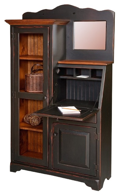 Handmade Amish Secretary Desk And Bookcase Side By With Mirror
