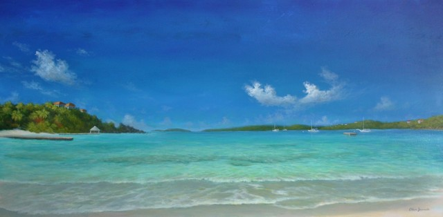 Large Original Tropical Seascape Beach Painting, Secret Harbour Blue